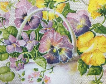 4 Paper Napkins For Decoupage Set Floral Napkins Garden Flower