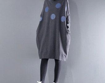 Loose casual dress bottom dress with dot pattern dress autumn and winter cotton dress woman