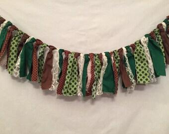 Fabric Tassel Garland/Green Fabric Garland/Rag Tie Garland/Polka Dot Garland/Cabin Garland/Hunting Decor/Camping Garland/Custom Garland