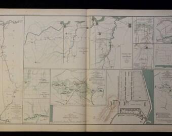 1891 Map Of Various Civil War Happenings