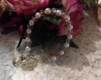No. 394 Rhinestone Silver Heart and Crystal Bracelet