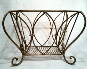 Magazine Rack, Scrolled Wrought Iron Tuscan Neoclassical Style , Welded Connections, Extremely Sturdy, Vintage Elegance