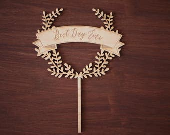 Best Day Ever engraved wreath topper