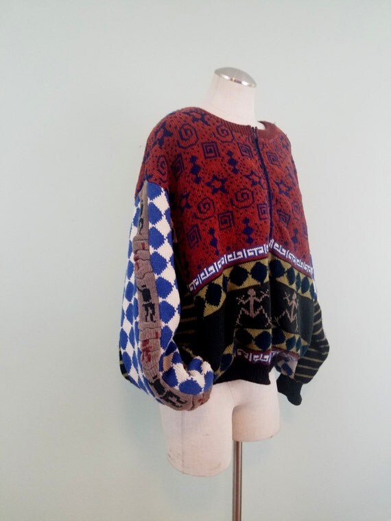 1990s Boho Cardigan / Heavyweight, Boxy, Zip Front Sweater / Stripe, Harlequin, Glyph, and Abstract Patchwork / Modern Size XL or 1X