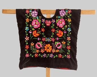 Envio GRATIS! Huipil de Tehuana en terciopelo negro con flores bordadas a mano, estilo Frida Kahlo, blusa mexicana