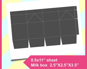 "Milk box Template, Poker template, Instant Download, PSD, PNG and SVG Formats,  8.5x11"" printable, Diy 109"