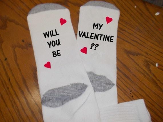 Will you be my Valentine? Fun Socks Mens socks