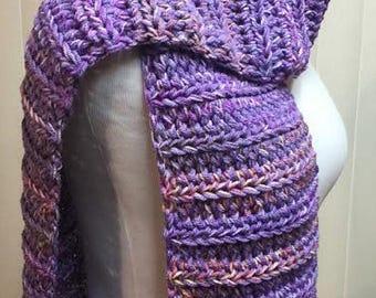Purple Scarf, Crochet Scarf, Lavender Scarf, Open End Scarf, Chunky Scarf, Purple Crochet Scarf, Crocheted Scarf, Winter Scarf