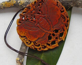 Horn carved Butterfly pendant, amulet,