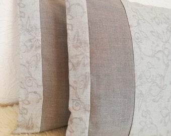 Beige Linen Pillow Cover Set of 2 - Light Gray Throw Pillow - Linen Jacquard Decorative Pillow - Natural Linen Throw Pillow -Grey Linen Sham