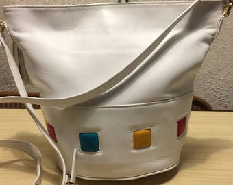 Gorgeous white leather bucket purse