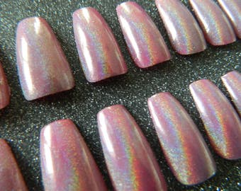 Pink Holographic Coffin Style False Nails.