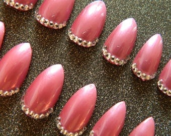 Pink Stiletto False Nails with Crystals