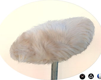 Cover for bike saddle, faux fur, white pearly