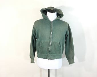 60's vintage distiessed zip up hoodie faded green color