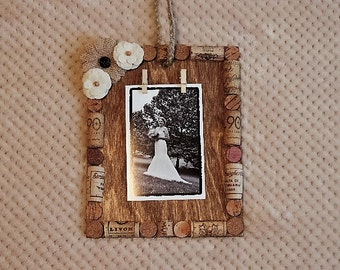 Unconventional wine cork frame or memo board - ready to ship