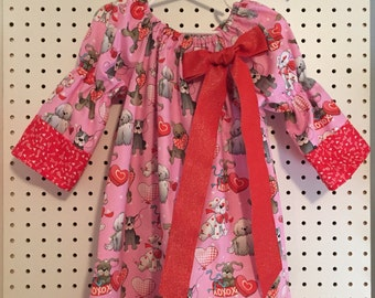 Valentines Day Doggies dress - size 4T