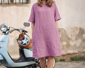 Loose linen dress. Lilac soft linen dress.