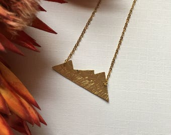 MOVING MOUNTAINS // Brass Hand Textured Necklace