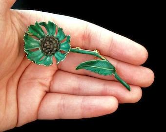 Brooches - Brooch Pins - Brooch Bouquets - Brooch - Vintage - Enamel Flower Brooch - Floral Brooch - Flower Pin - Green Flower - Antique