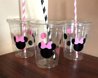 Pink and black minnie party cups, minnie mouse party cups, party cups, birthday cups, disposable party cups, 16oz party cups, minnie party