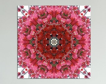 Elegance mandala print on canvas ~ Floral wall art ~ Bougainvillea Magenta Glory ~ Nature Photography ~ Feng Shui decor ~ Modern canvas art