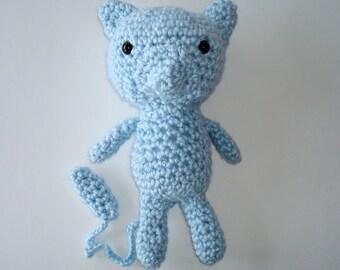 Mew Amigurumi, Crochet Stuffie, Pokemon Plush, Handmade Stuffed Mew, Child's Gift, Child's Stuffed Toy, Handmade Blue Mew, Made To Order