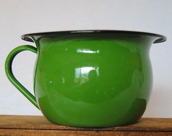 Vintage Green Enamelware Pot with Handle