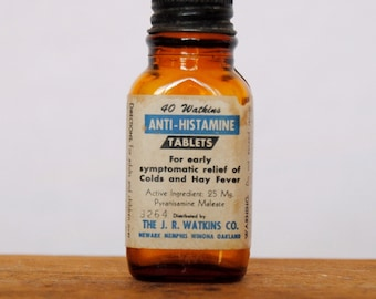 Vintage 40 Watkins Anti-Histamine Tablets Bottle
