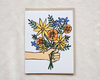 Flower bouquet/ here you go / for you/ celebration/ any occasion card