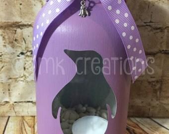Penguin Painted Mason Jar Tea Light Candle Holder, penguin, painted mason jar, mason jar, tea light candle holder, mason jar decor, candle