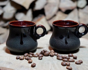 Family gift Clay coffee cups Set of 2 mugs Birthday gift for her Small coffee mugs First home Gift for him Black pottery mugs Coffee set