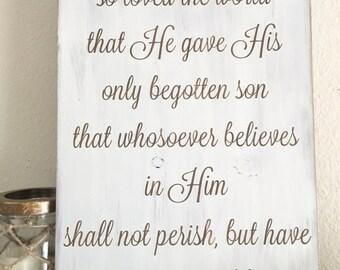John 3:16, Bible Verse, Religious Decor, Rustic Distressed Wood Sign, Home Decor