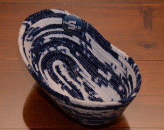Fabric Rope Coiled Basket Handmade: Blue White We Are Penn State Theme Pin Fleece - Oval Small