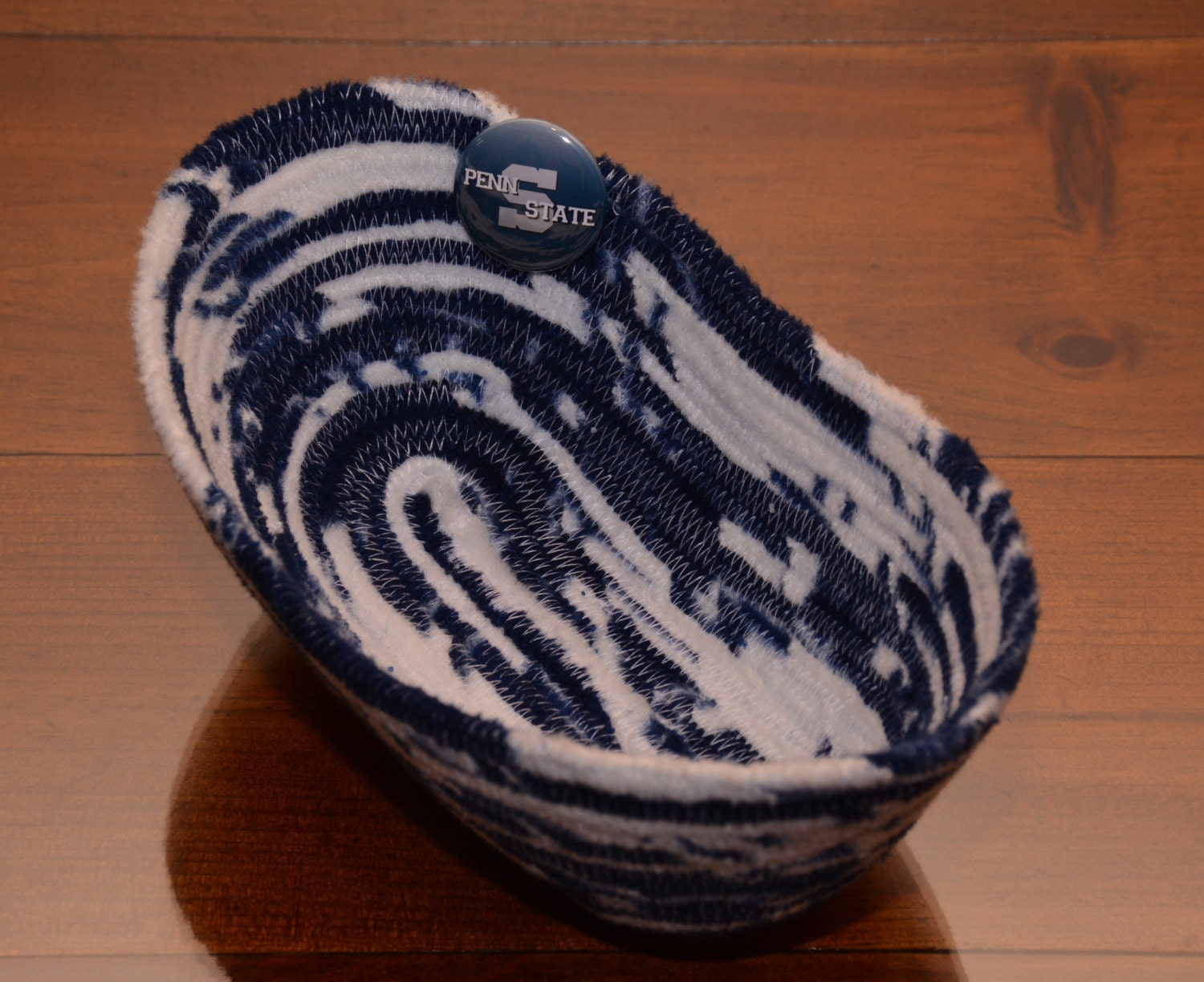 Handmade Rope Basket : Fabric rope coiled basket handmade blue white we are penn