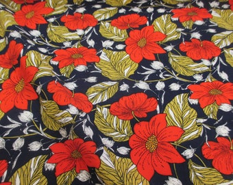 Navy & Red Retro Floral 100% Viscose Summer Printed Dress Fabric.
