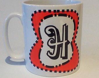 Monogram mug H free message on base by Tattoo Mug Dr Seuss inspired any letter you choose