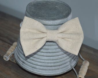 Khaki Linen Neutral Hair Bow