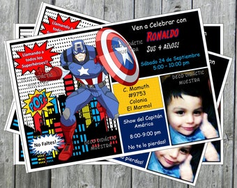 Superheroes Invitations // Captain America