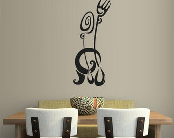 rvz1994 Wall Vinyl Decal Sticker Kitchen Decal Fork Knife Spoon Wine Poster