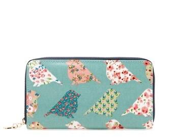 Oilcloth Zip around vegan Wallet Green Bird Oil cloth ladies purse Ladies Zip wallet Coin purse Laminated cotton Iphone Plus- Vegan friendly