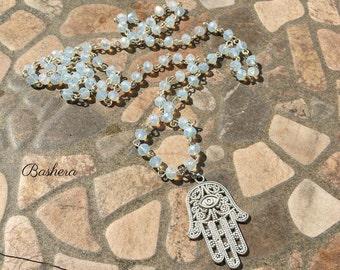 Hand of Hamsa Necklace Hand of Fatima Necklace Boho style Moon Grey