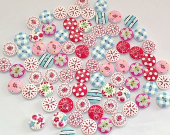 50 Mixed Wooden Buttons 15mm 2 hole card making scrap booking frames all crafts sewing assorted