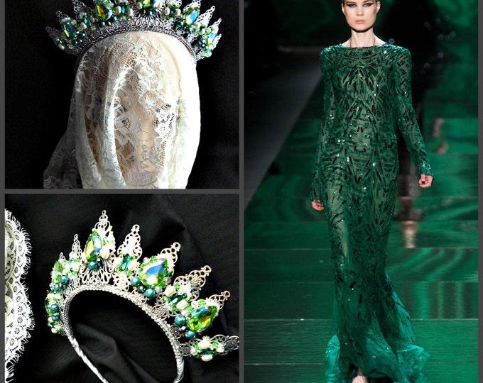 emerald green silver wedding metal crown tiara gift ideas for women bridal headpiece Dolce Swarovski headband birthday gift chakra queen