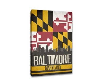 Baltimore State Flag Skylines Canvas Print