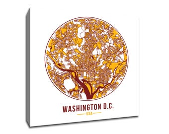 Washington Football - Community Color Map - Canvas Print Wall Art for Neighborhood Fans