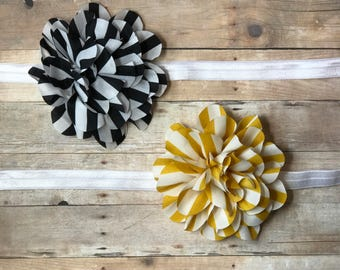 Baby/girl headbands, stripes, black, white, yellow, flower, headband, spring, childrens, toddler, newborn