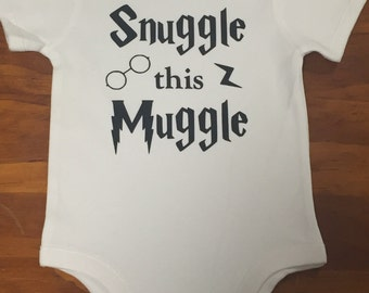 Snuggle This Muggle Baby grow, onesie, romper, Harry Potter theme designs muggle born