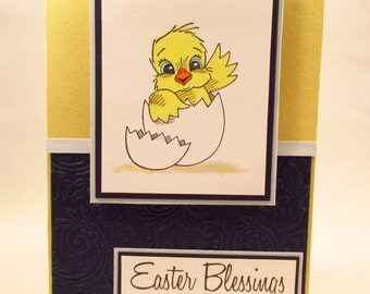 Easter Card, Easter Blessings, handmade card, baby chick card, Easter greeting card, religious Easter card, MADE TO ORDER