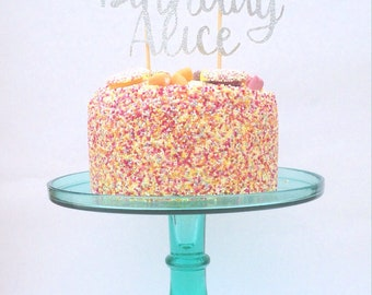 Personalised Cake Topper, Happy birthday glitter cake topper, cake topper, birthday decor, party decor, cake decoration